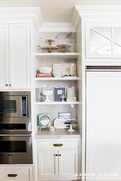 Styled KItchen Shelves with Marble Cake Stands