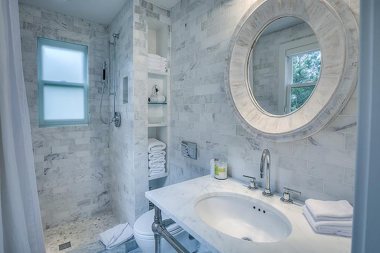 Beach Cottage Bathroom with Marble Tile Shower and Niche