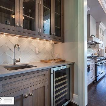 White Kitchen with White Glass Chevron Backsplash Tiles