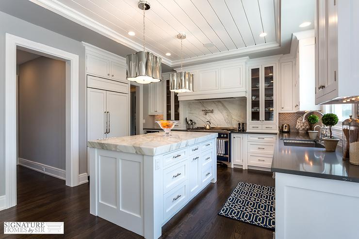 pulls for kitchen cabinets remodel price black and white with thick calacatta marble ...