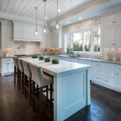 Kitchen Island Counter Refacing Cabinets Diy White With Thick Marble Countertop And Gray Velvet Stools