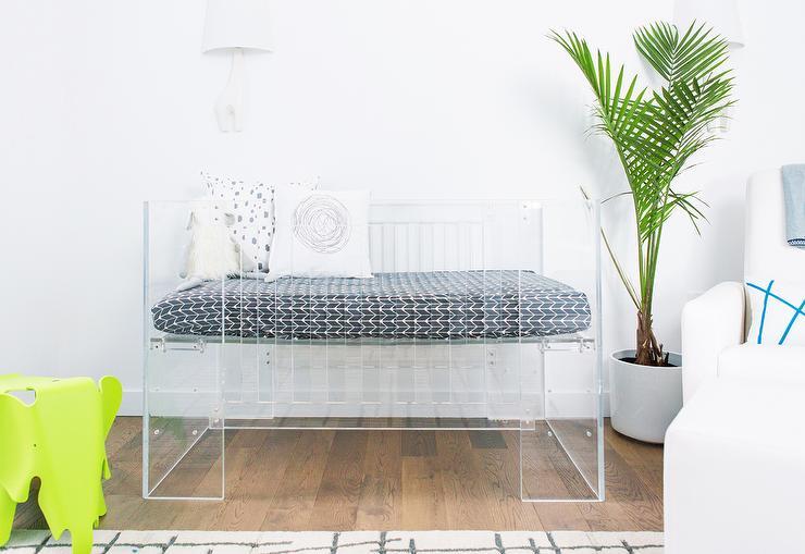 Clear Lucite Nursery Crib with Jonathan Adler Giraffe 1