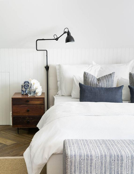 Bedroom with Sloped Ceiling and Beadboard Walls