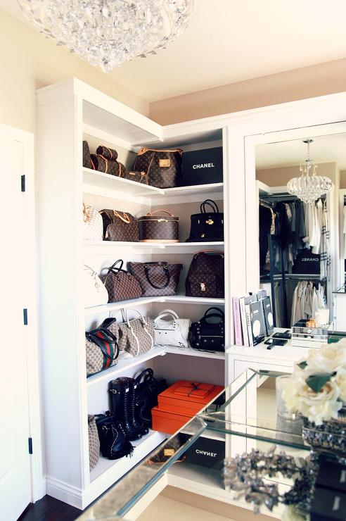 Glam Closet with Built In Dresser and Glass Knobs