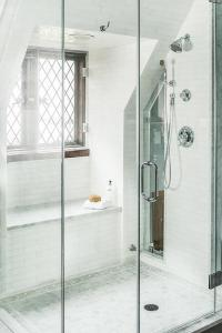 Walk In Shower with Sloped Ceiling and Window Seat Bench ...