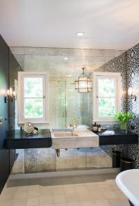 White and Black Bathroom with Antiqued Mirrored Accent ...