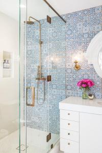 White Lacquered Bath Vanity with Blue Mosaic Moroccan ...