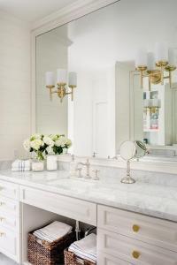 White Bathroom Vanity with Gold Hexagon Knobs ...