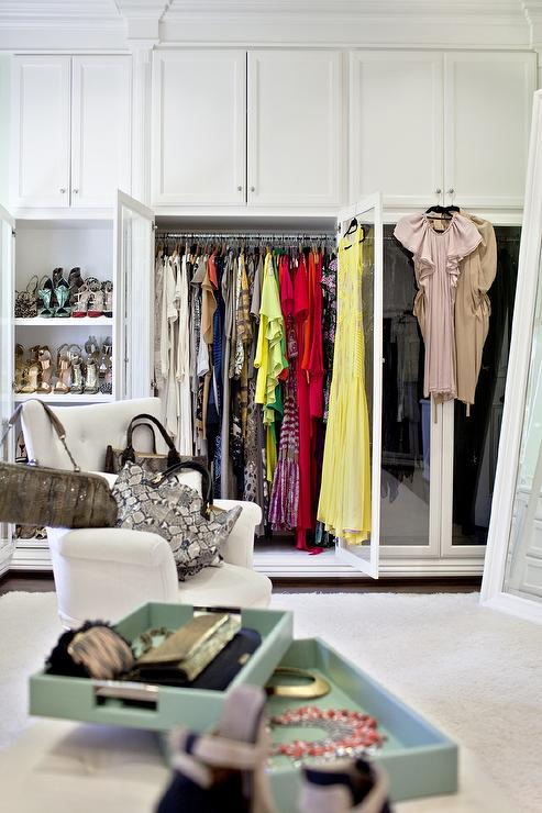 Closet Wardrobe Cabinet With Double Glass Doors Transitional Closet