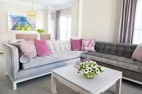 Gray and Pink Living Room with Purple Curtains ...