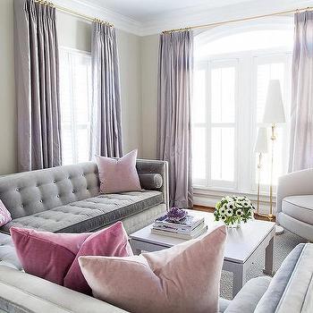 Long Purple Living Room Curtains Design Ideas
