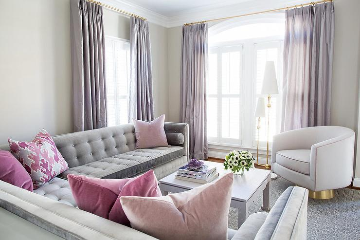 corner sofa and swivel chair folding chairs ikea gray pink living room with purple curtains - contemporary