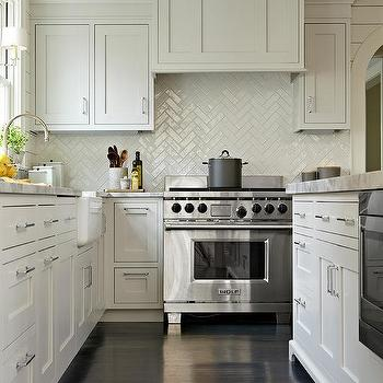 Gray Kitchen Cabinets with satin Nickel Cup Pulls