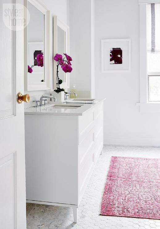 Contemporary White bathroom with Pink Overdyed Rug on