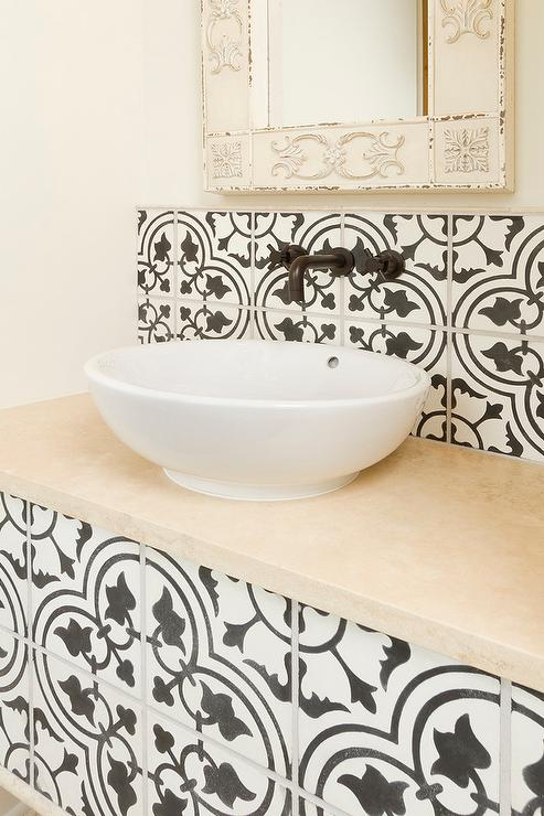 black and white moroccan tile