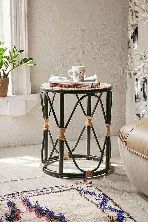 Black And Tan Round Boho Side Table