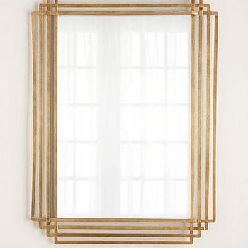 Overlapping Diamonds Mirror in Gold