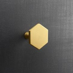 Gray Cabinets Kitchen Ceramic Tile Countertops Hexagon Brass Drawer Pull