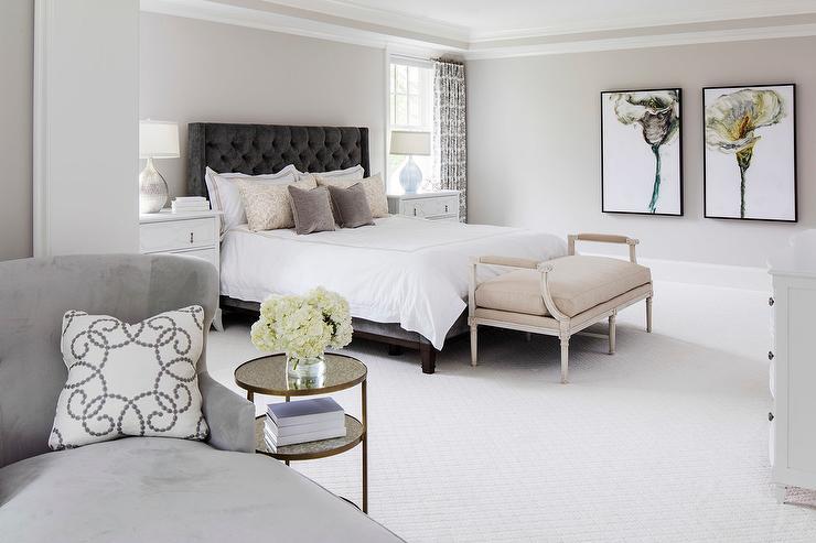 Gray On Gray Bedroom Design Transitional Bedroom
