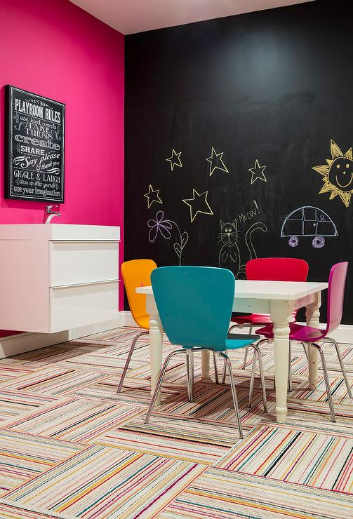 Pink and Black Basement Playroom with Striped Carpet Tiles