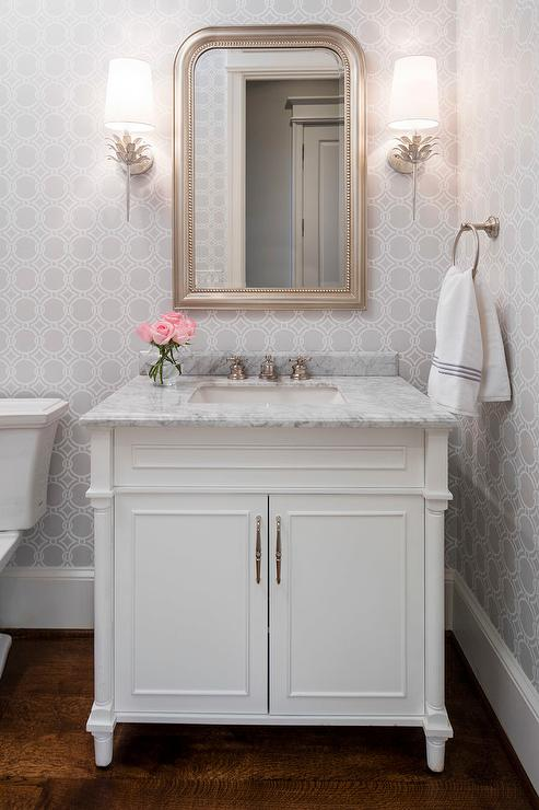 Gray Powder Room With Silver Leaf Beaded Mirror