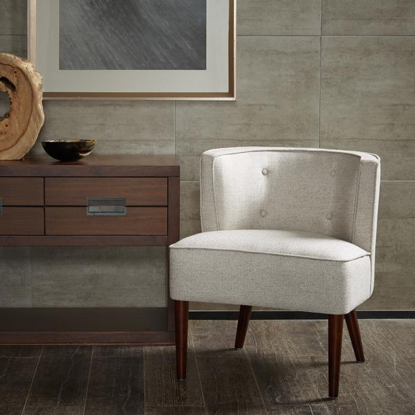 Off White Corner Upholstered Accent Chair