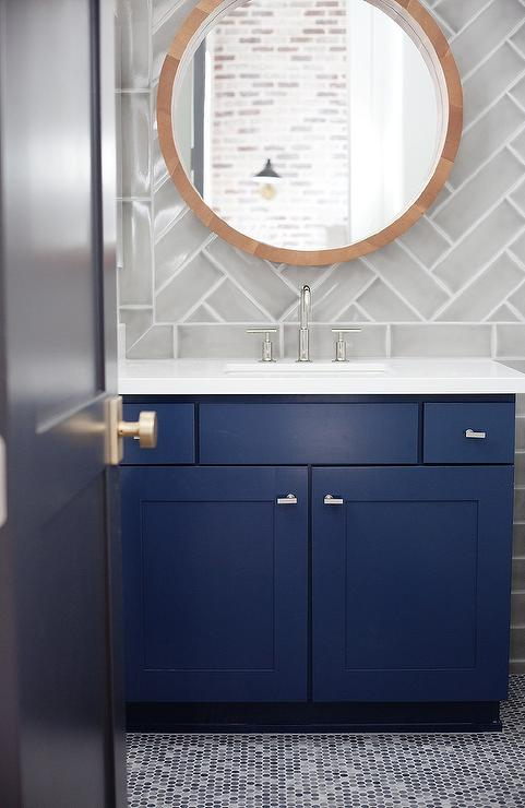 Blue Bath Vanity With Gray Herringbone Tile Backsplash Contemporary Bathroom