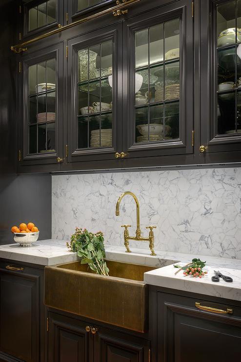 Dual Apron Sink With Gold Gooseneck Faucet Transitional