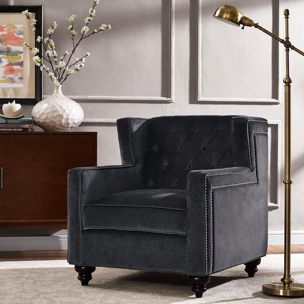 Gray Velvet Chatham Arm Chair  Kirklands