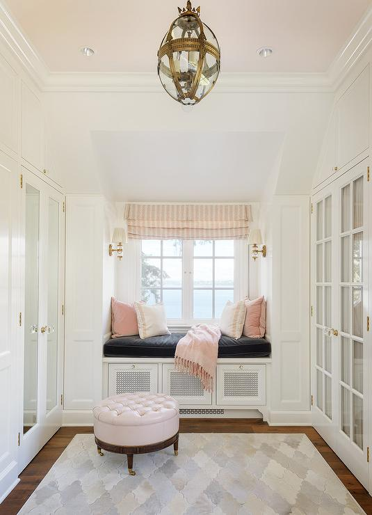 White and Pink Closet with Pink Ceiling  Transitional