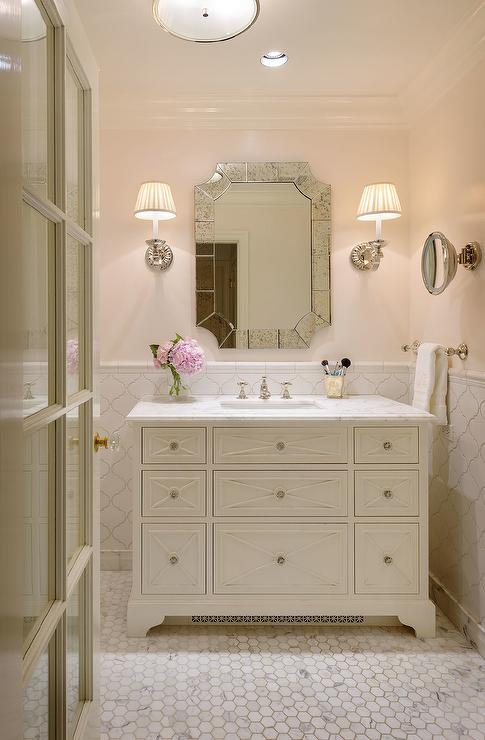 White and Pink Girls Bathroom with White Arabesque Tiles