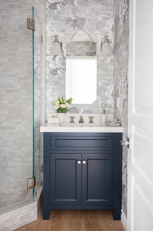 Blue Washstand with Arched Mirror and White Glass Bell