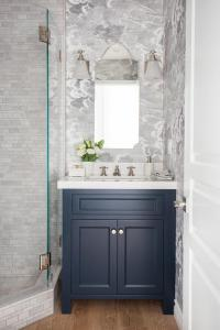 Blue Washstand with Arched Mirror and White Glass Bell ...