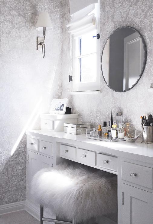 White and Gray Dressing Room with Makeup Vanity and