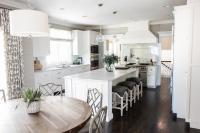White Kitchen Island with Gray Seat Abacus Counter Stools ...
