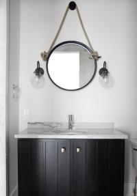 White and Black Cottage Powder Room with Rope Mirror ...