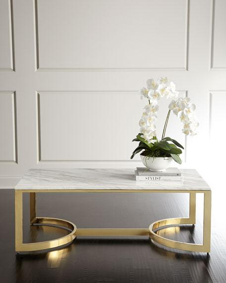 White Marble Rectangle Brass Base Coffee Table