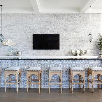 blue mosaic tiled bar island design ideas
