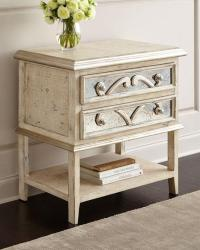Round Wood Top Single Drawer White Nightstand