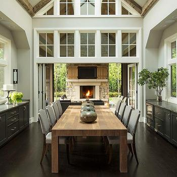 Dining Room With Black Built In Buffet Cabinets With