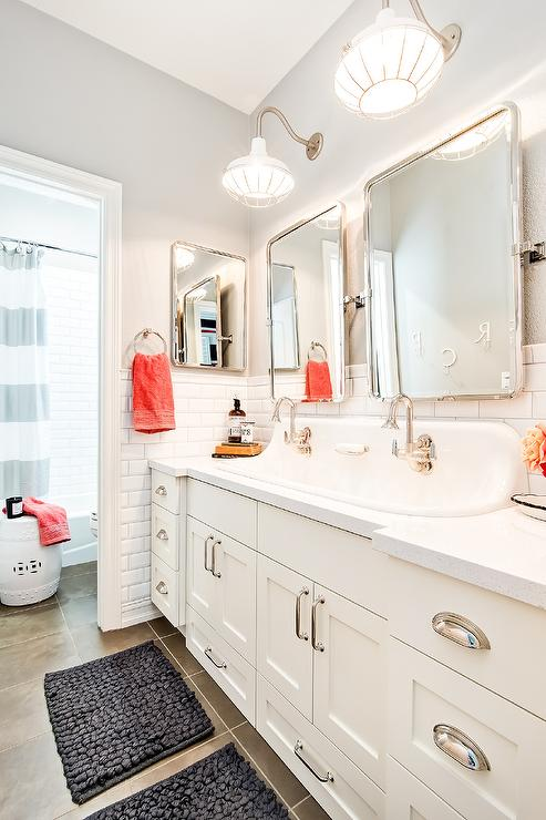 Cottage Kids Bathroom with Built In Pull Out Step Stools