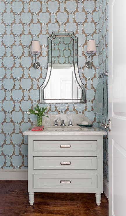 Blue Powder Room with Thibaut Cheetah Wallpaper  Transitional  Bathroom