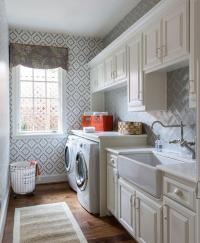 Galley Style Laundry Room with Farmhouse Sink ...