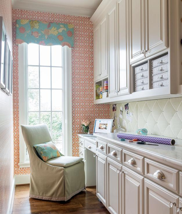 desk chair combo fishing lawn long mudroom and craft room with built in shelving unit - transitional laundry