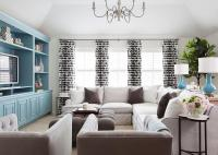 White and Brown Living Room with Tiffany Blue Accents ...