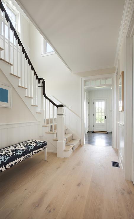 Foyer with Blue Ikat Bench  Cottage  Entrancefoyer
