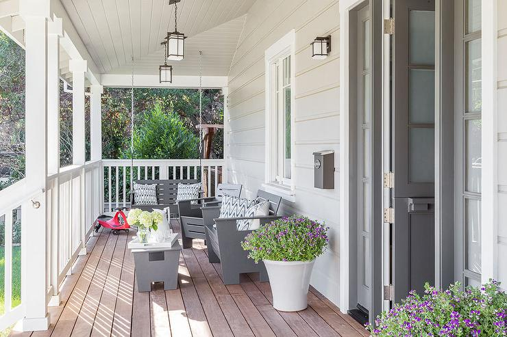 modern gray porch swing with gray