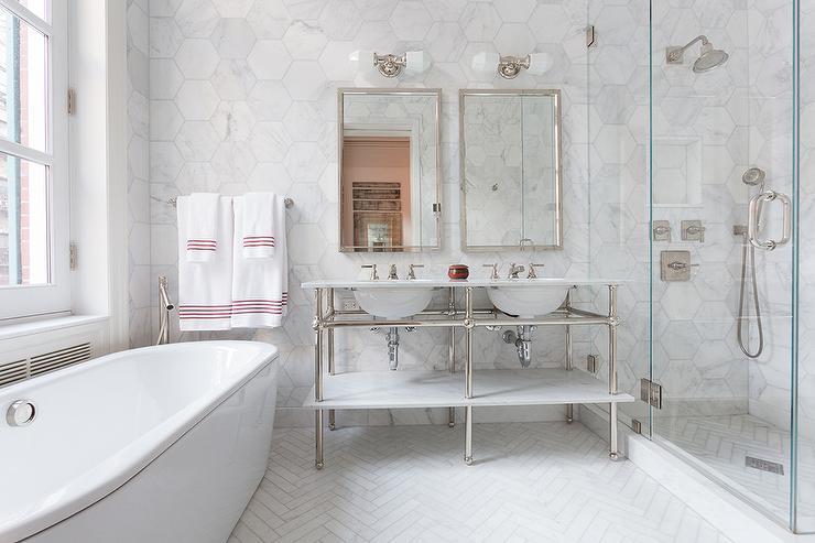 Master Bathroom With Large White Marble Hexagon Wall Tiles
