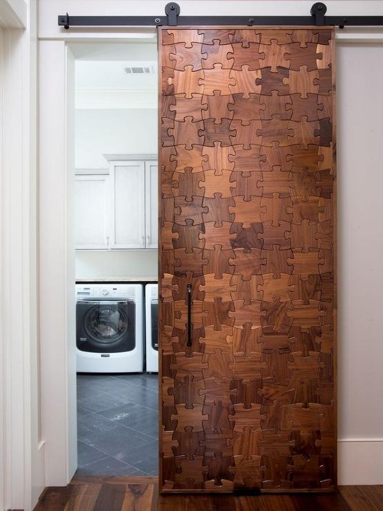 Reclaimed Wood Office Door On Rails Design Ideas