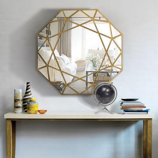 Gold Geometric Framed Wall Mirror